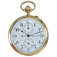 Longines 14kt Yellow Gold Open Face Chronograph Pocket Watch from 1920's