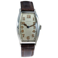 Longines 18 Karat Solid White Gold Tonneau Shaped Wristwatch from 1925