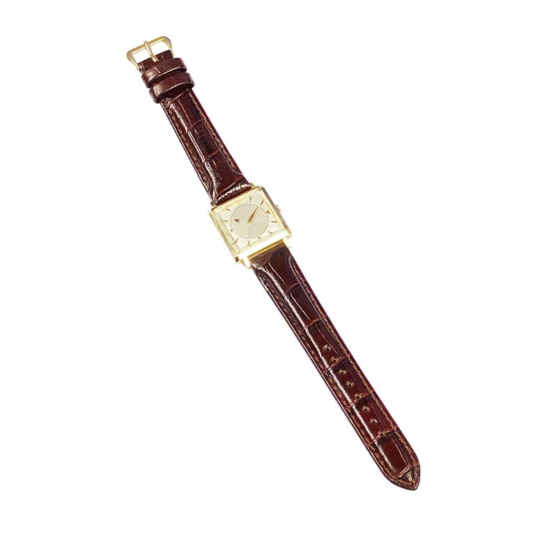 Longines 1950 Mystery Dial Yellow Gold Manual Wind Wrist Watch For Sale 1