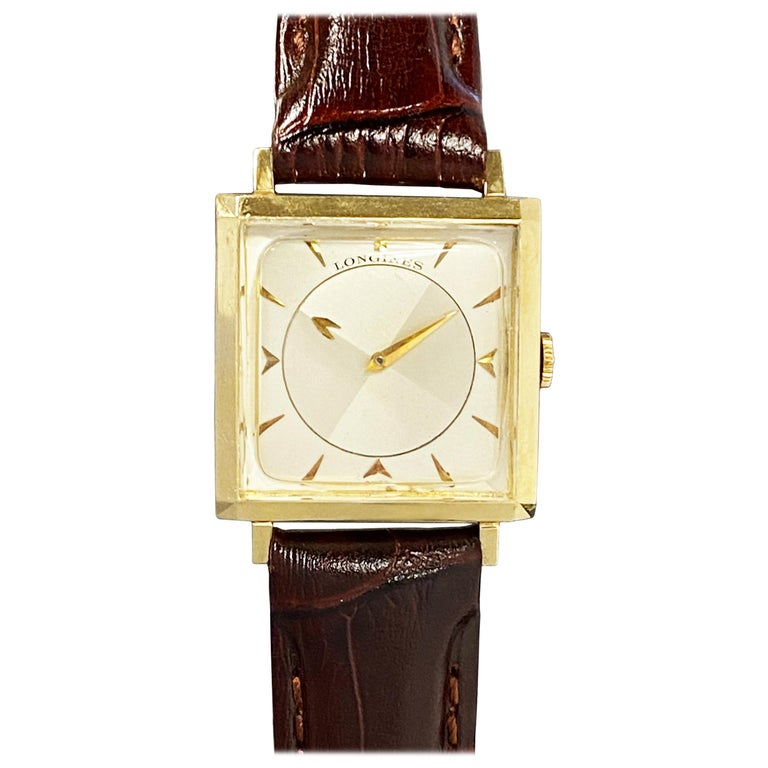 Longines 1950 Mystery Dial Yellow Gold Manual Wind Wrist Watch For Sale
