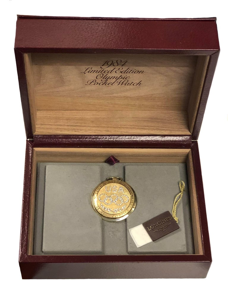 Women's or Men's Longines 1984 Olympics Yellow Gold and Diamonds Pocket Watch Never Used For Sale
