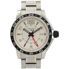 Longines Admiral GMT Steel Silver Arabic Dial Automatic Mens Watch L3.668.4.76.6