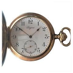 Longines Antique Pocket Watch 14 Karat Yellow, Solid Gold 1910 Grand Prix