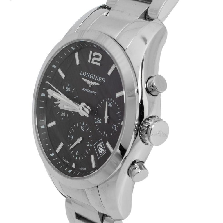 Contemporary Longines Black Stainless Steel Conquest Classic Men's Wristwatch 41 mm