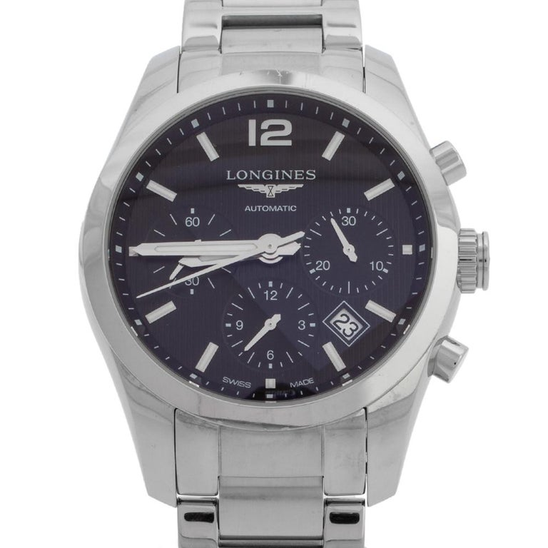 Longines Black Stainless Steel Conquest Classic Men's Wristwatch 41 mm In Good Condition In Dubai, Al Qouz 2