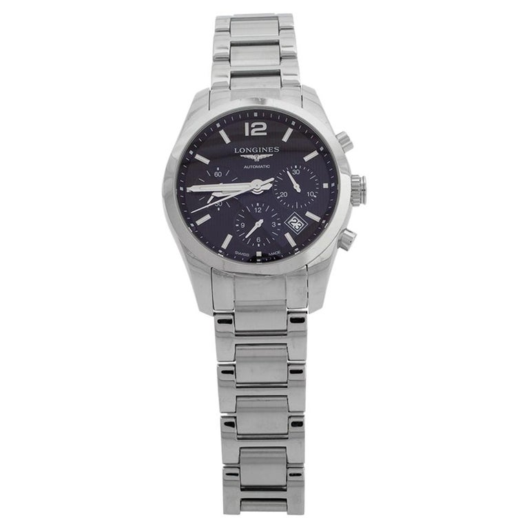 Longines Black Stainless Steel Conquest Classic Men's Wristwatch 41 mm