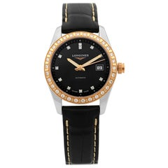 Longines Conquest Classic 18K Gold Diamond Black Dial Ladies Watch L2.285.5.57.3