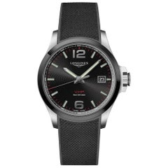 Longines Conquest V.H.P. Black Dial Rubber Strap Men's Watch 37294569