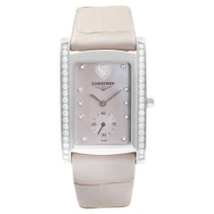 Longines DolceVita Steel Diamond Pink MOP Dial Leather Strap Watch L56550932