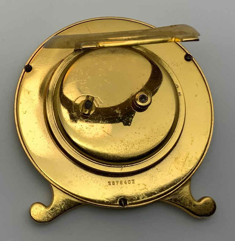 Edwardian Longines Gold-Plated Brass Desk Clock For Sale