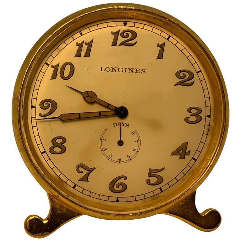 Longines Gold-Plated Brass Desk Clock For Sale