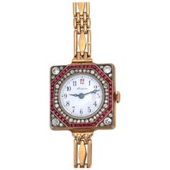 Longines Gold Rubies Diamonds Russian Gold Lady Watch Bracelet 1910