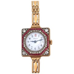 Longines Gold Rubies Diamonds Russian Gold Lady Watch Bracelet, 1910