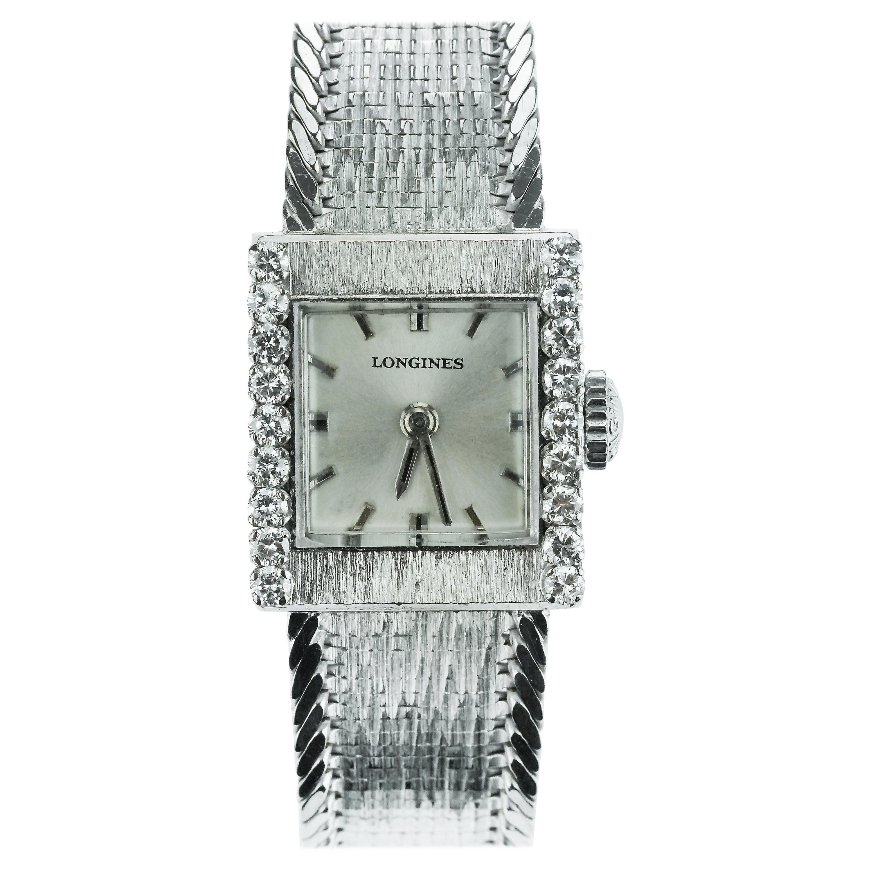 Longines, Swiss, Ladies Dress Watch with Diamonds in 18 Karat White Gold
