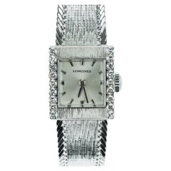 Longines, Swiss, Ladies Dress Watch with Diamonds in 18 Karat White Gold