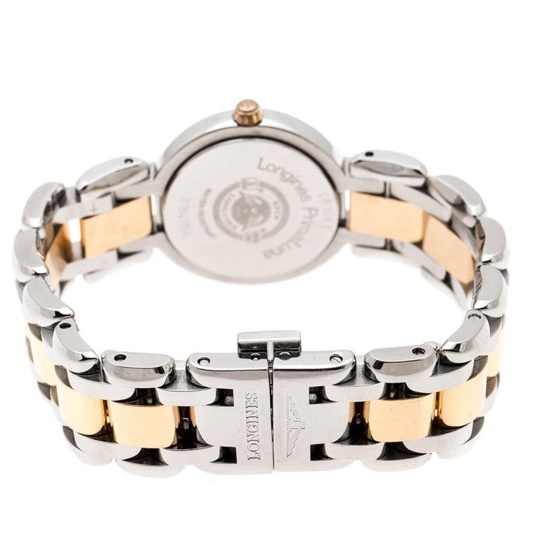 Women's Longines Mother of Pearl 18K Rose Gold Stainless Steel Diamond Primaluna L8.1095 For Sale