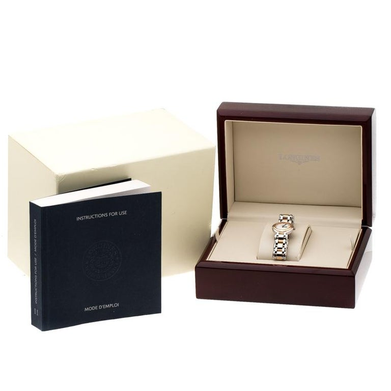 Longines Mother of Pearl 18K Rose Gold Stainless Steel Diamond Primaluna L8.1095 For Sale 1