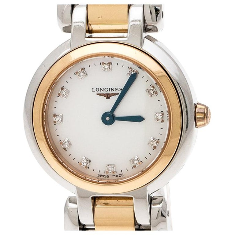 Longines Mother of Pearl 18K Rose Gold Stainless Steel Diamond Primaluna L8.1095 For Sale