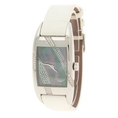 Longines Mother of Pearl And Diamonds Stainless Steel Women's Wristwatch 24 mm