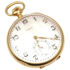 Longines Mother of Pearl Dial Yellow Gold Pocket Watch