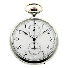 Longines Nickel Silver Enamel Dial Chronograph Pocket Watch