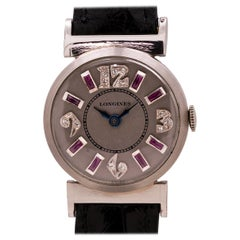 Longines Platinum Diamond and Ruby Set Ladies Watch, circa 1950s