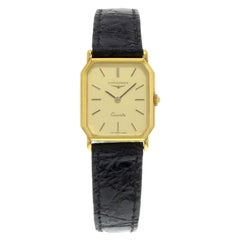Longines Rectangle Gold Dial 18 Karat Yellow Gold Leather Quartz Ladies Watch