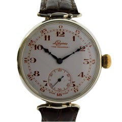 Longines Sterling Silver Campaign Style The Brighton Manual Watch, 1928