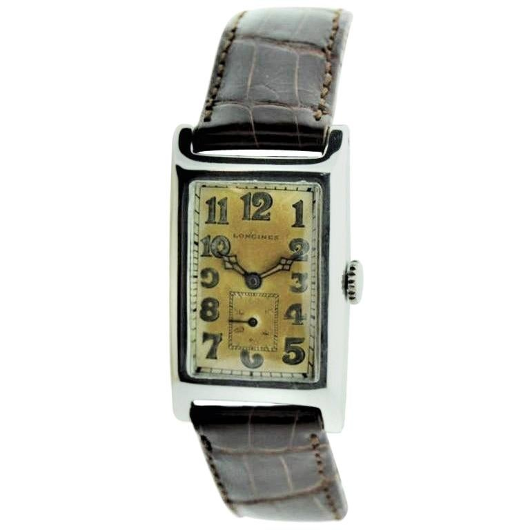 Longines Silver Rectangular Art Deco Watch with Original Silvered Dial