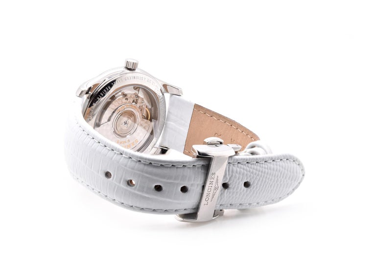 Women's or Men's Longines Stainless Steel Mother of Pearl Diamond Watch