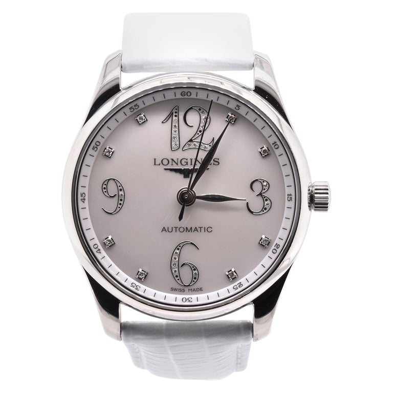 Longines Stainless Steel Mother of Pearl Diamond Watch