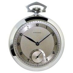 Longines Steel Art Deco Open Face Pocket Watch Original Dial, circa 1930s