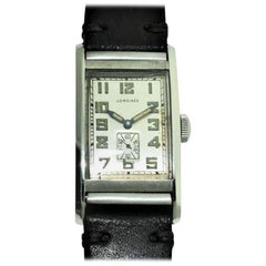 Longines Steel Hermetic Rare Art Deco Watch, circa 1930s