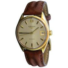 Longines Vintage Automatic Yellow Gold Wristwatch, circa 1970