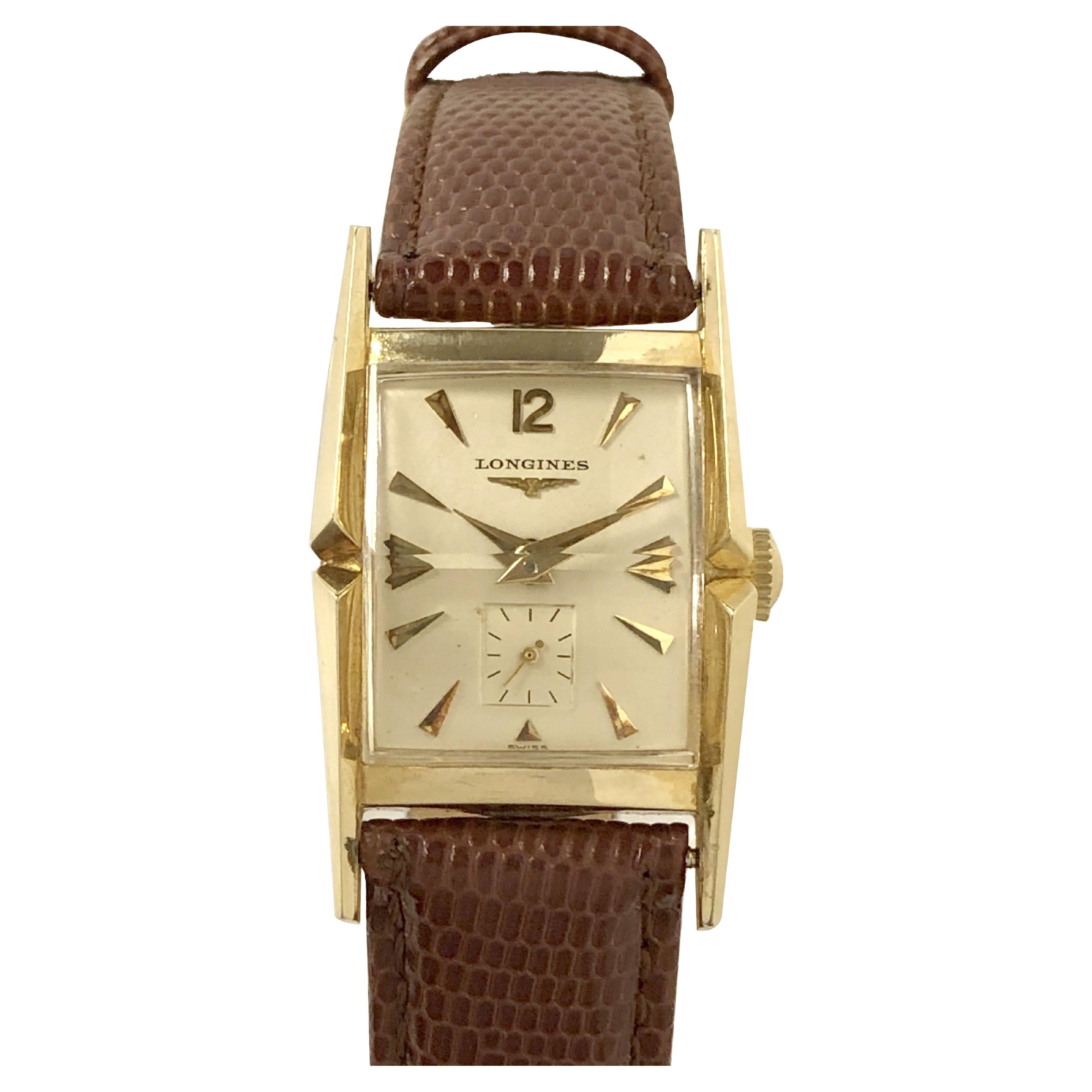 Longines Vintage Yellow Gold Flared Case Wrist Watch