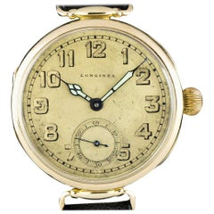 Longines Vintage Yellow Gold Open Face Champagne Dial Watch