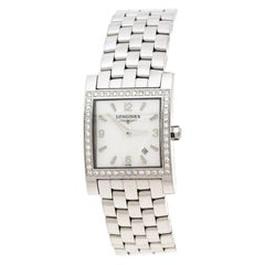 Longines White Mother of Pearl Diamond Dolcevita Women's Wristwatch 24 mm