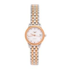 Longines White Two-Tone Diamonds Flagship Women's Wristwatch 26 mm