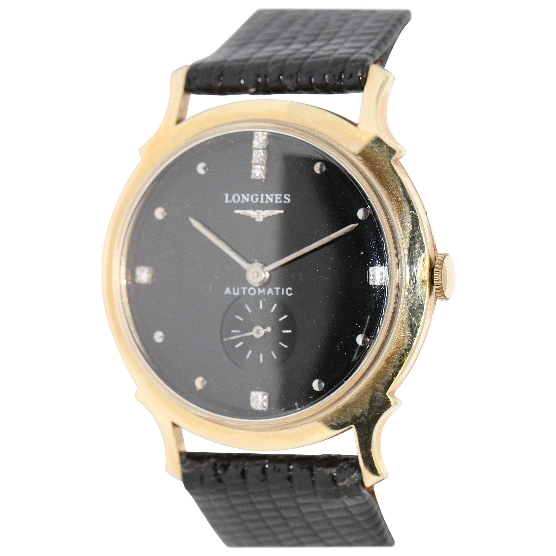 Longines Wittnauer New York Vintage Automatic 14K Gold Diamond Dial Wristwatch