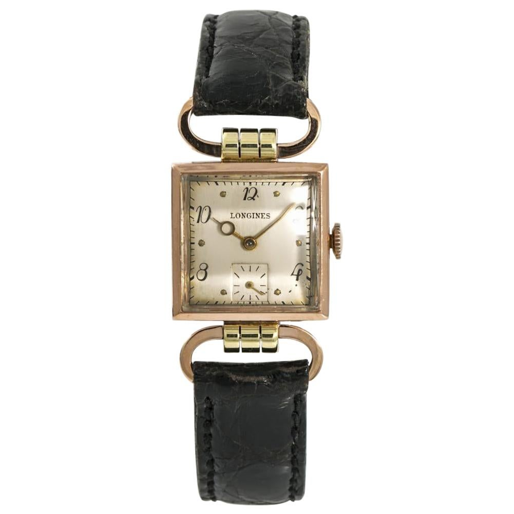 Longines Womens Hand Winding Vintage Watch Sliver Dial 14 Karat Rose Gold