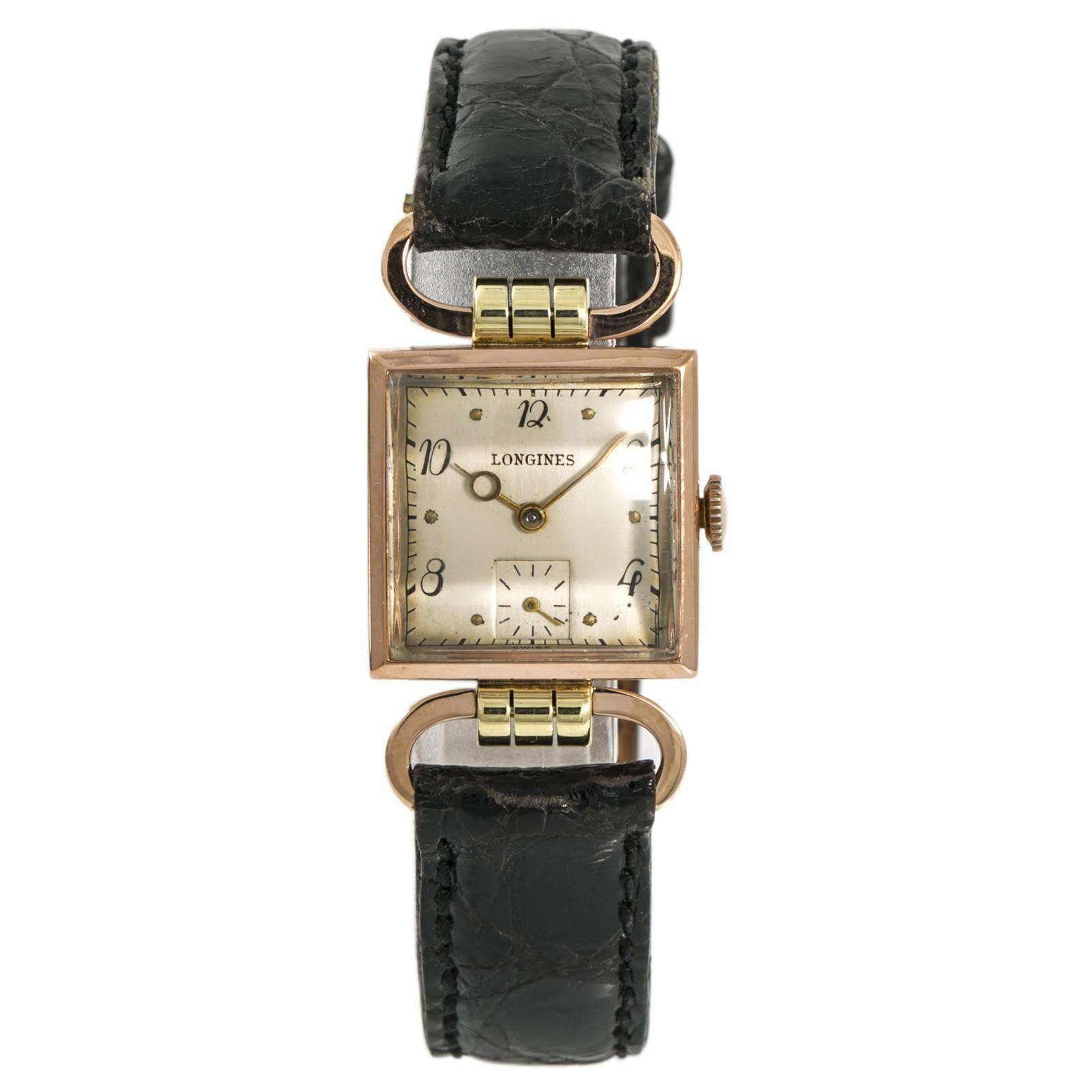 Longines Women's Hand Winding Vintage Watch Sliver Dial 14 Karat Rose Gold