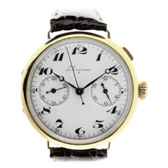 Longines Yellow Gold Enamel Dial Military Chronograph Manual Watch from 1933