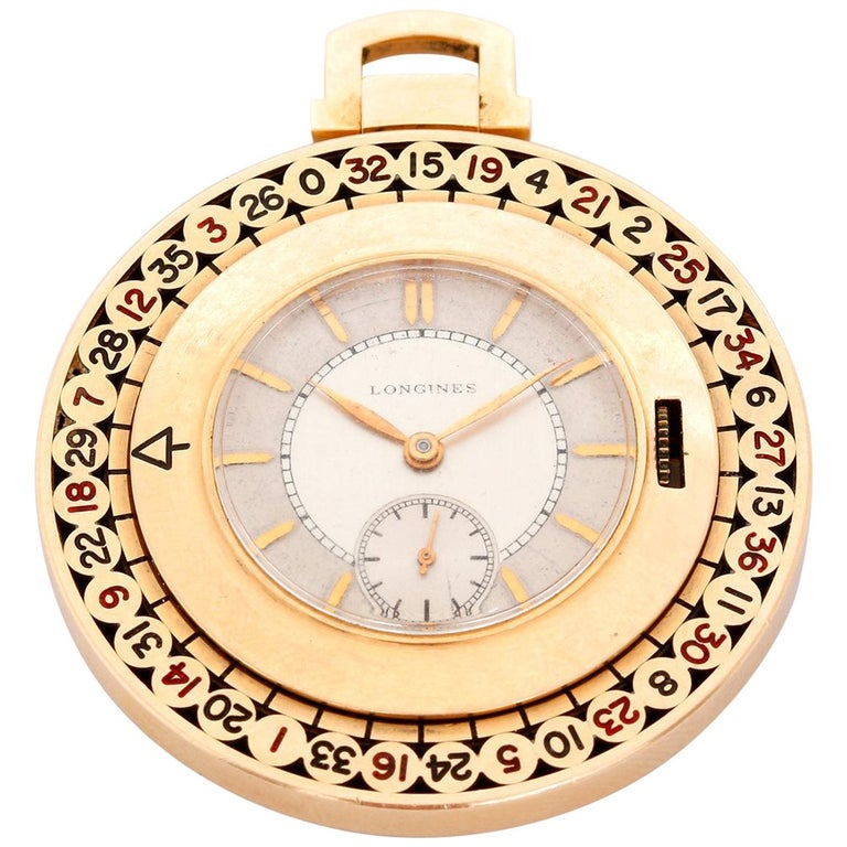 Longines Yellow Gold Roulette Manual Pocket Watch For Sale