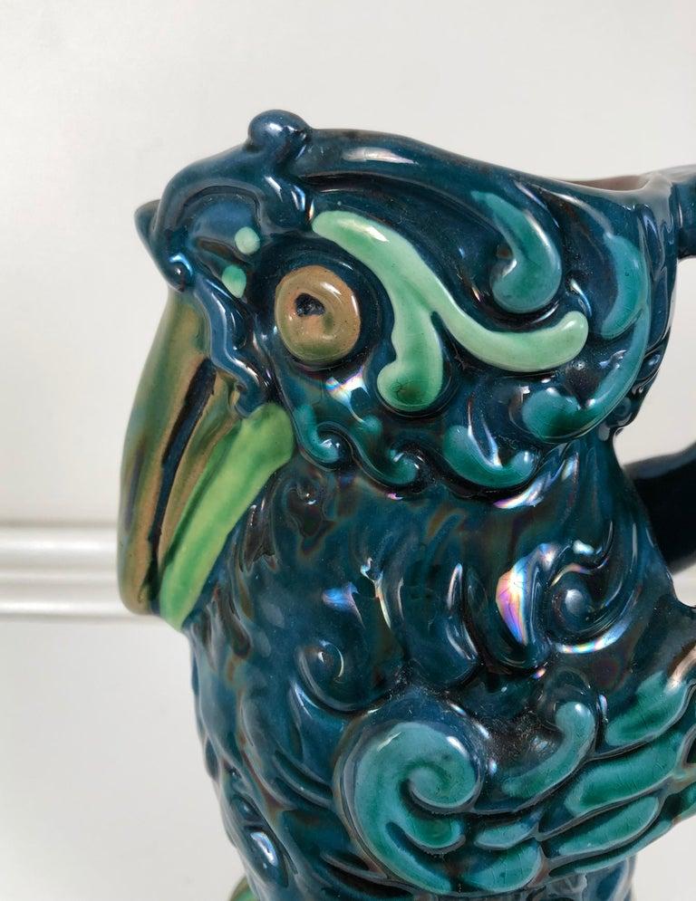 Longpark English Art Pottery Bird Pitcher For Sale 3