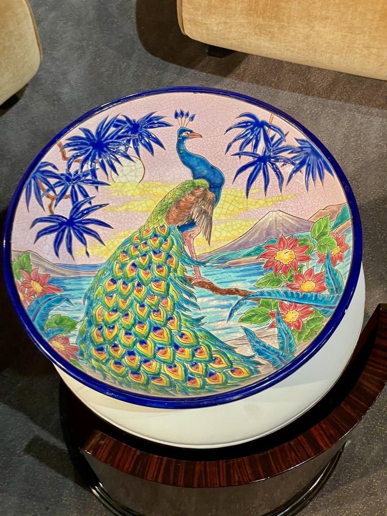 Longwy Ceramic Cloisonné Charger Artist Signed French Art Deco In Good Condition For Sale In Oakland, CA
