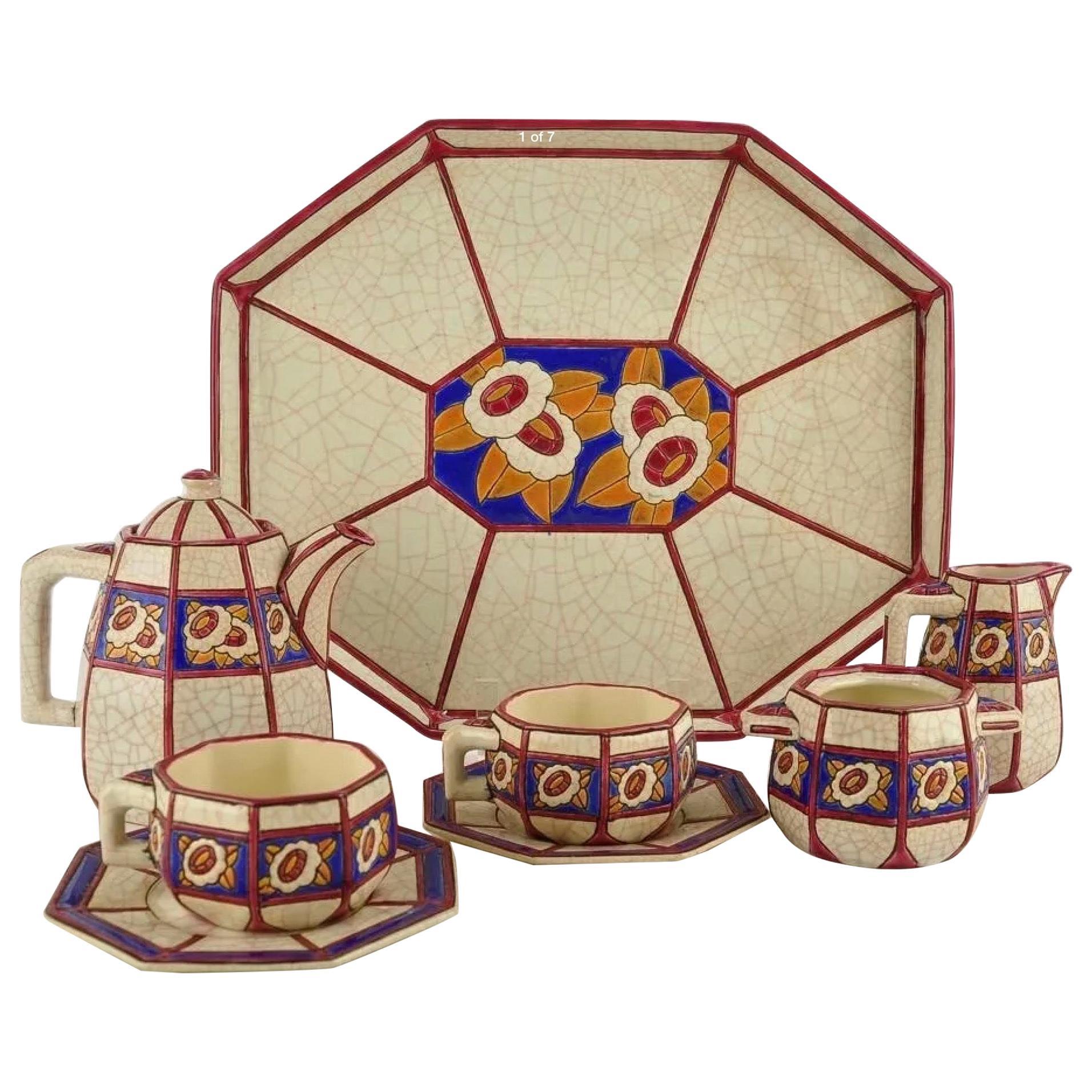 Longwy French Ceramic Cloisonné Art Deco Coffee Tea Suite