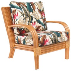 "Loop Arm Rattan ""Regata"" Lounge Chair with Woven Wicker Back"