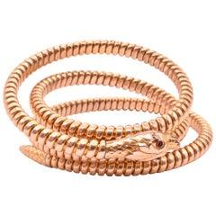 Loop Coiled Serpent Bracelet with Ruby Eyes