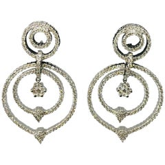 Loop Dangle Earring with 18 Karat White Gold 15.5 grams and 7 Cts Diamonds