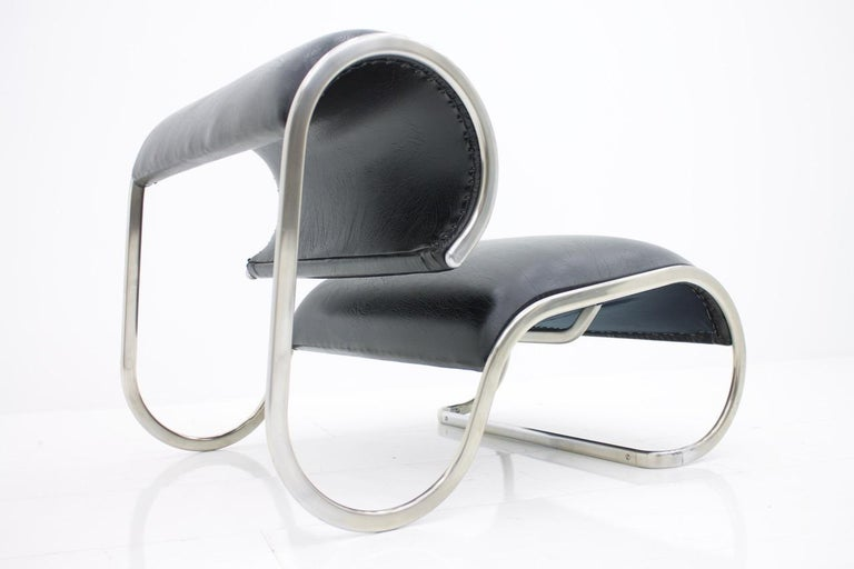 Metal Loop Lounge Chair, Slipper Chair, 1970s For Sale